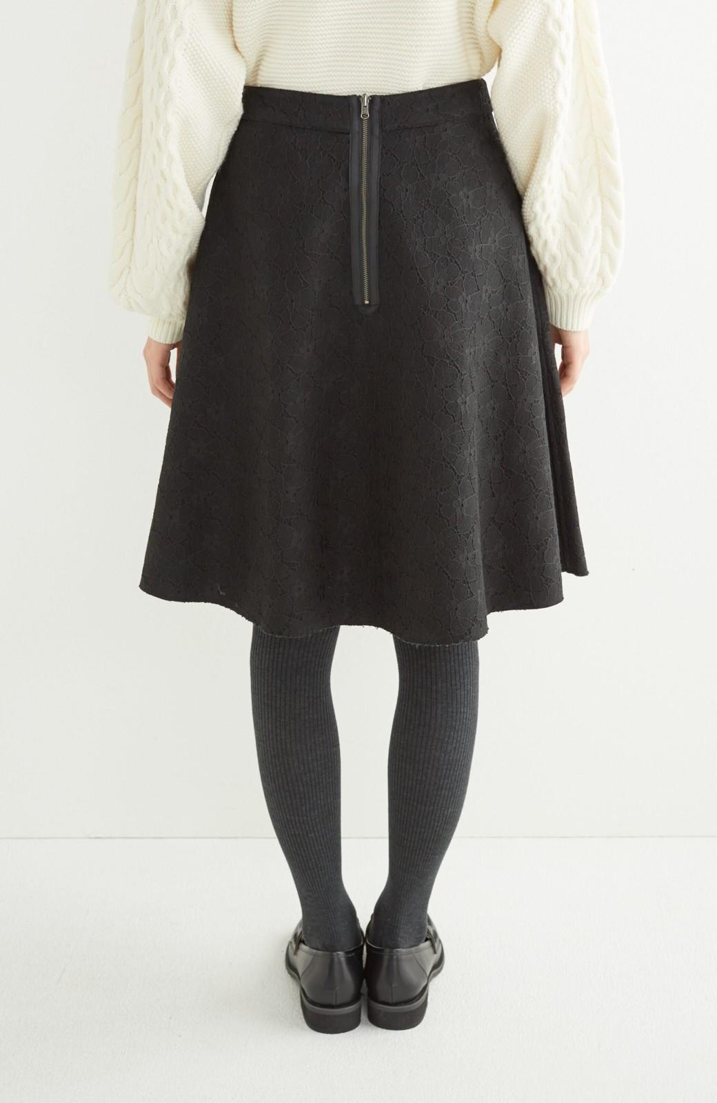 エムトロワ 定番ブラックと華やかレースのリバーシブルフレアースカート <ブラック>の商品写真10