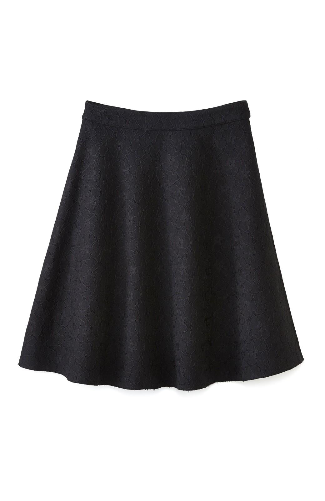 エムトロワ 定番ブラックと華やかレースのリバーシブルフレアースカート <ブラック>の商品写真1