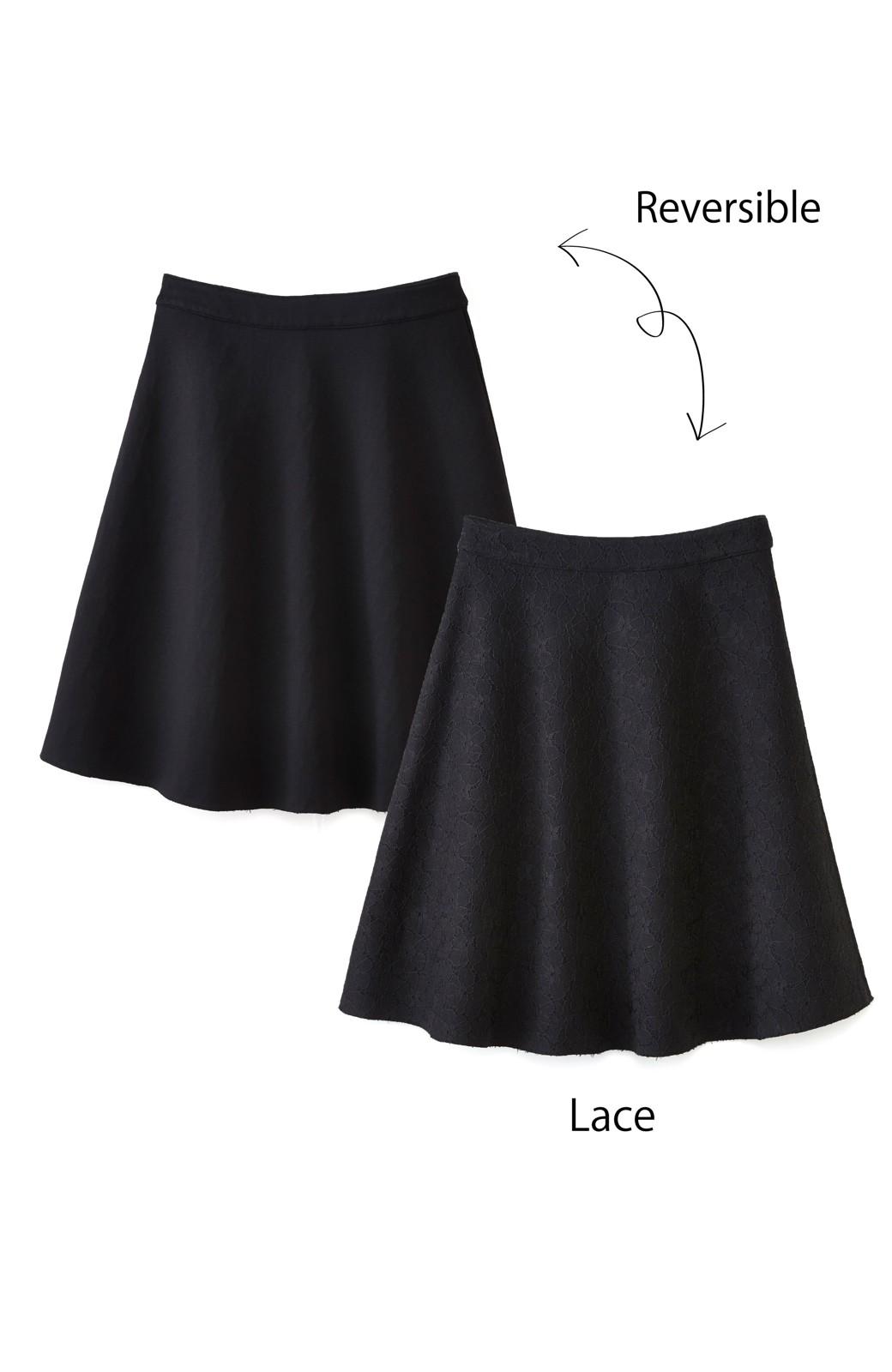 エムトロワ 定番ブラックと華やかレースのリバーシブルフレアースカート <ブラック>の商品写真2