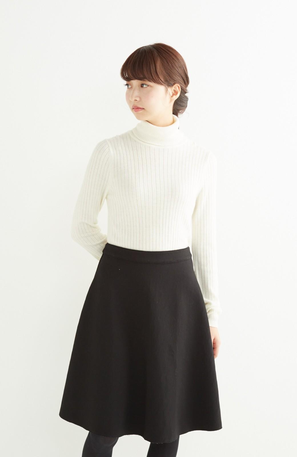 エムトロワ 定番ブラックと華やかレースのリバーシブルフレアースカート <ブラック>の商品写真17