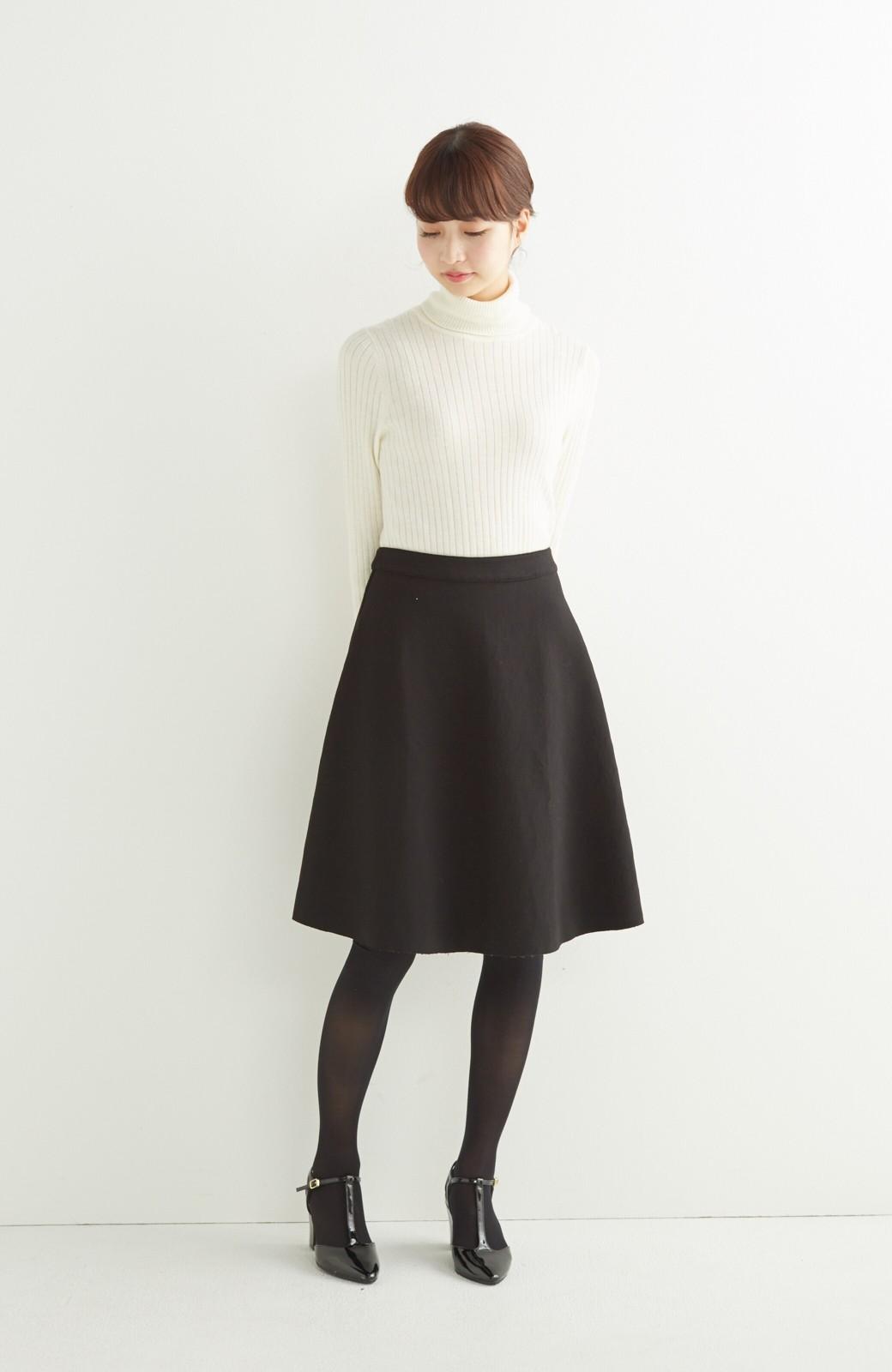 エムトロワ 定番ブラックと華やかレースのリバーシブルフレアースカート <ブラック>の商品写真11