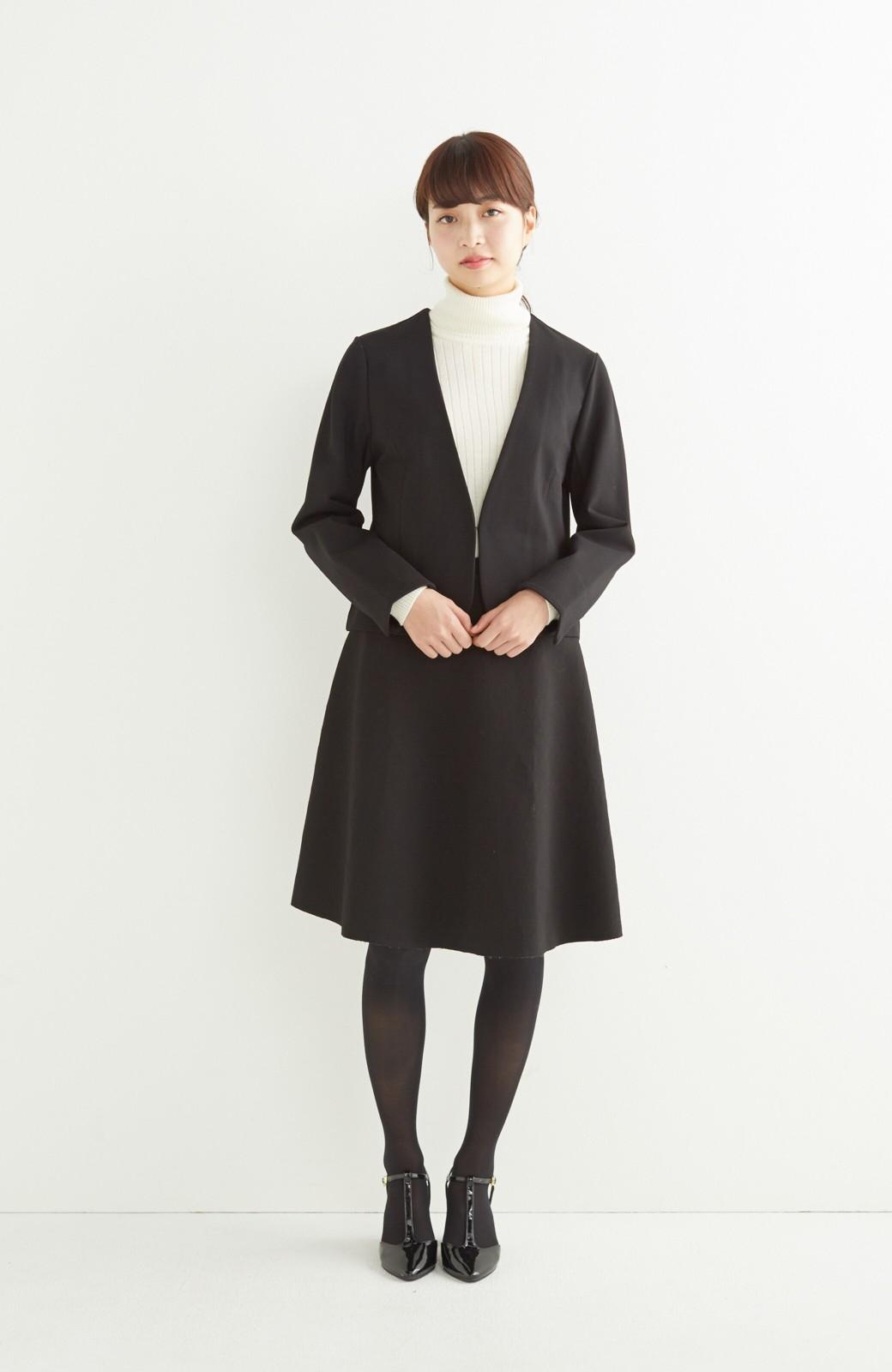 エムトロワ 定番ブラックと華やかレースのリバーシブルフレアースカート <ブラック>の商品写真13