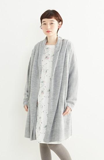 エムトロワ ぱっと羽織るのに便利な大人かわいいニットガウンコート <杢グレー>の商品写真