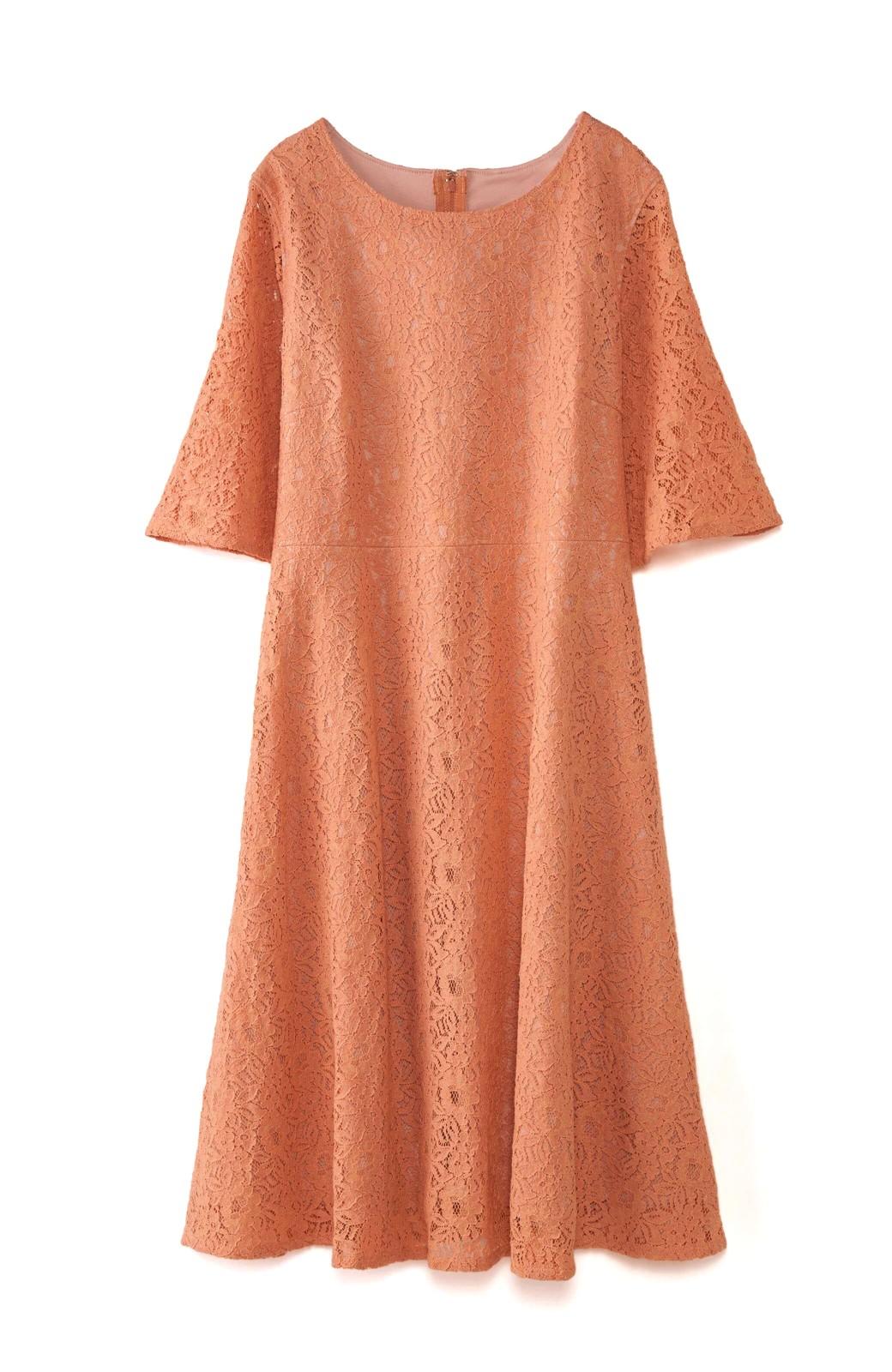 エムトロワ 結婚式にも便利 1枚で着てきれいなレースワンピース <オレンジ>の商品写真1