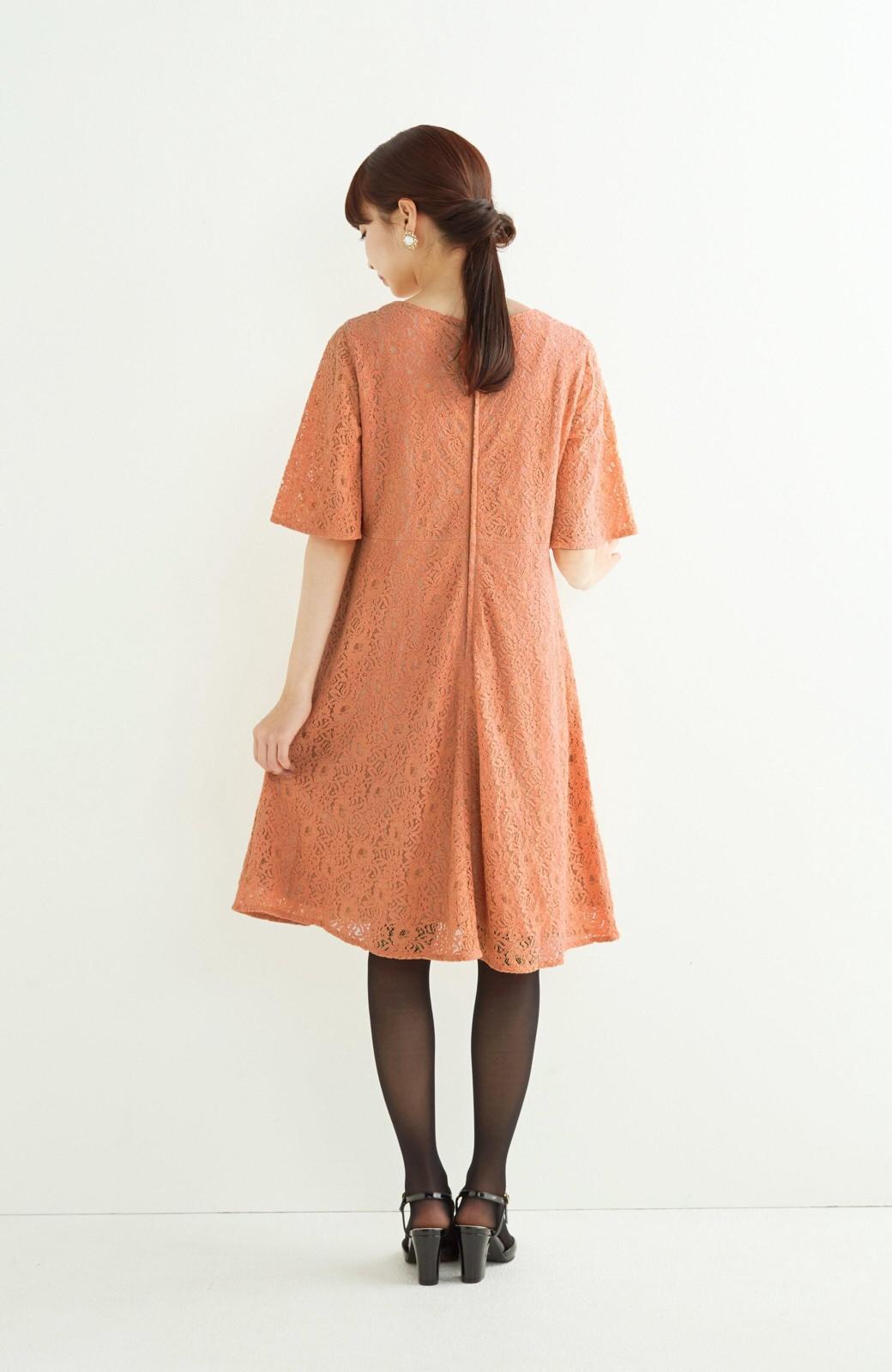 エムトロワ 結婚式にも便利 1枚で着てきれいなレースワンピース <オレンジ>の商品写真7