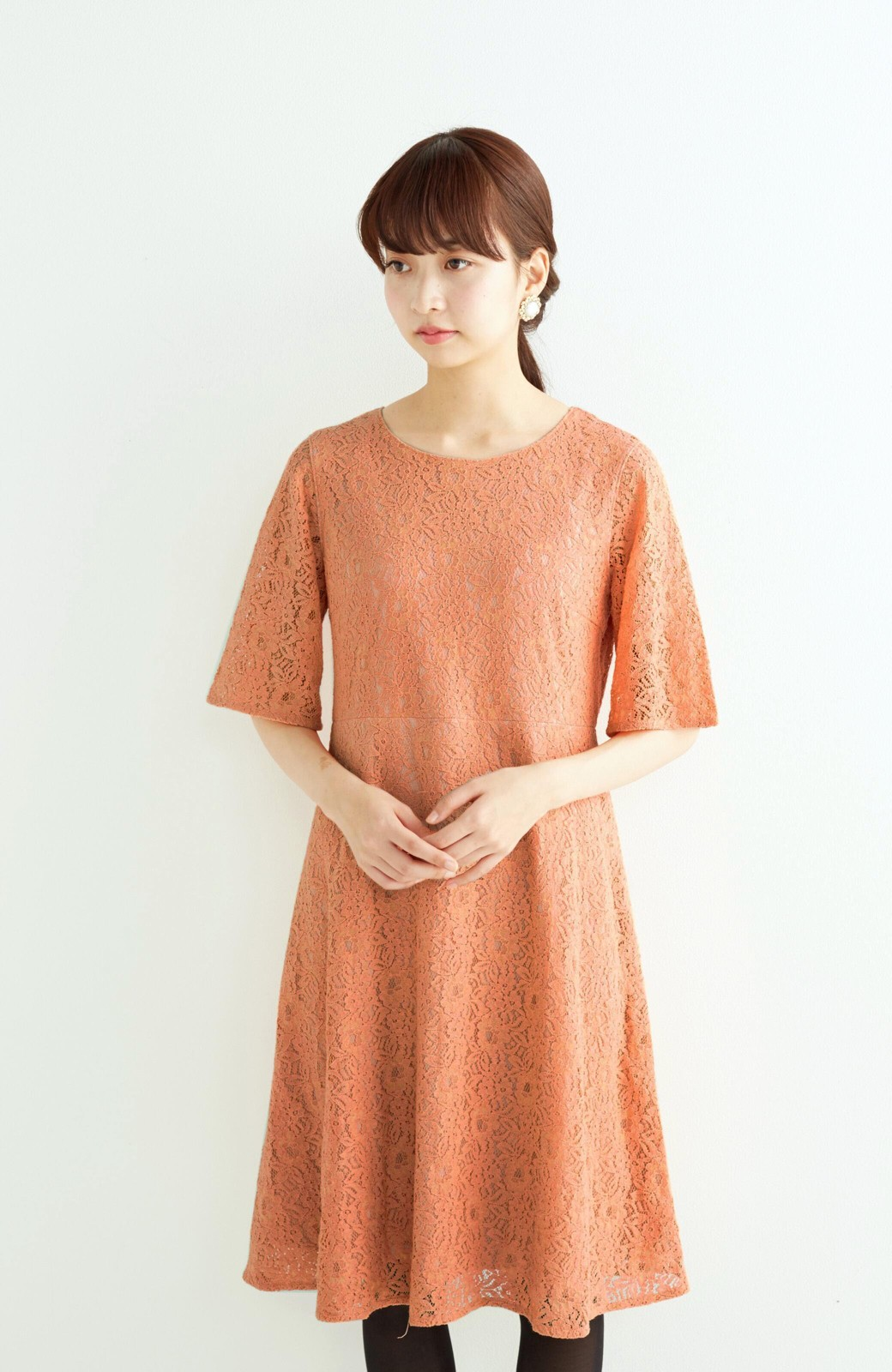 エムトロワ 結婚式にも便利 1枚で着てきれいなレースワンピース <オレンジ>の商品写真9