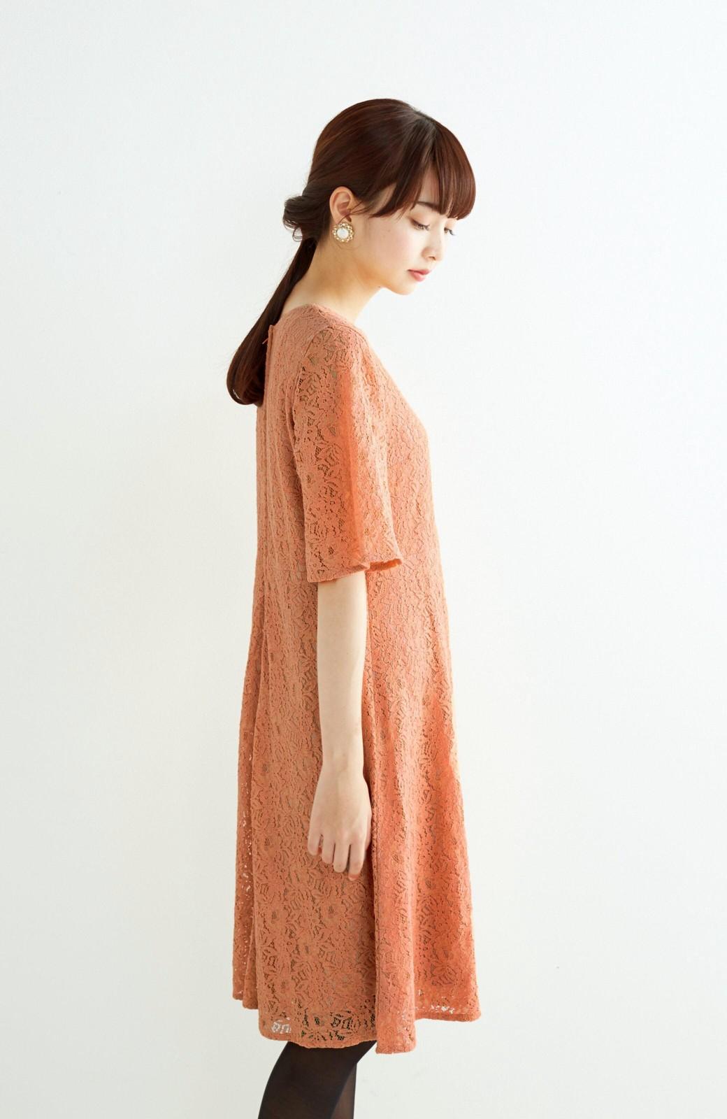 エムトロワ 結婚式にも便利 1枚で着てきれいなレースワンピース <オレンジ>の商品写真10