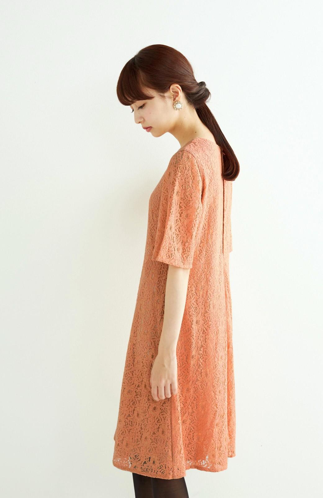 エムトロワ 結婚式にも便利 1枚で着てきれいなレースワンピース <オレンジ>の商品写真11