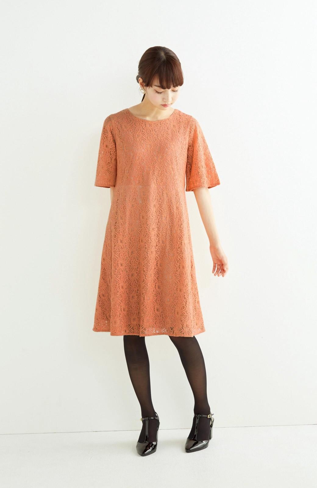 エムトロワ 結婚式にも便利 1枚で着てきれいなレースワンピース <オレンジ>の商品写真4