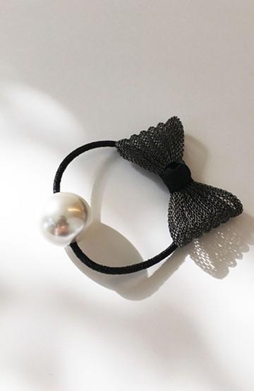 haco! リボンとプラパールのヘアゴム <ブラック>の商品写真