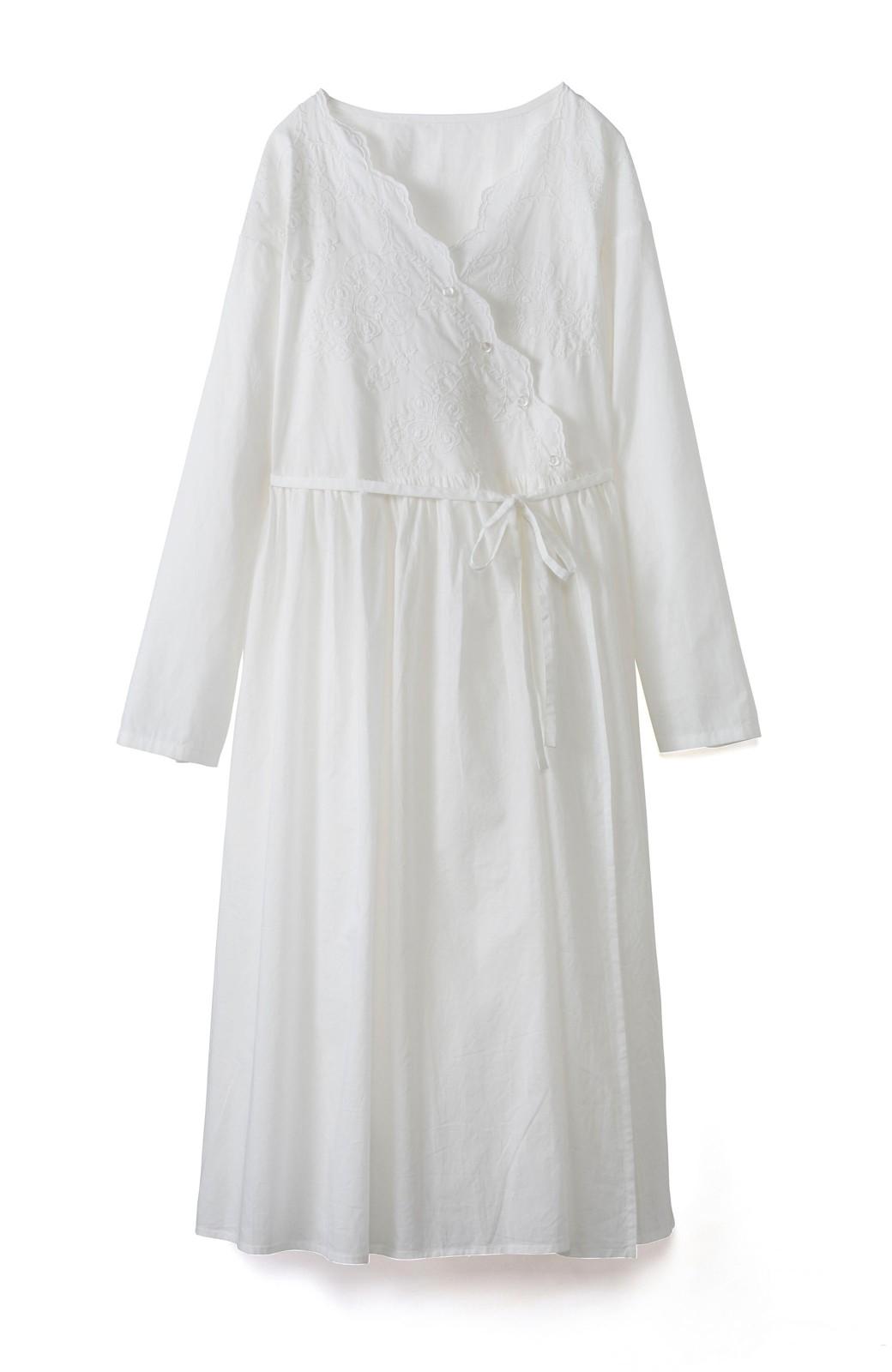 エムトロワ 羽織りにもなるスカラップレースカシュクールワンピース <ホワイト>の商品写真1