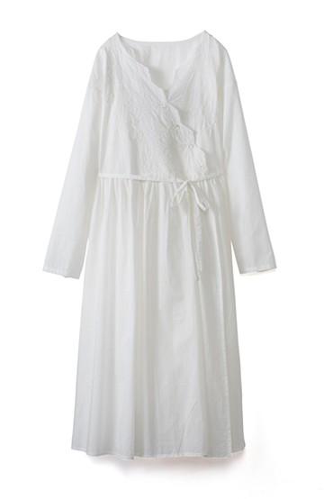 エムトロワ 羽織りにもなるスカラップレースカシュクールワンピース <ホワイト>の商品写真