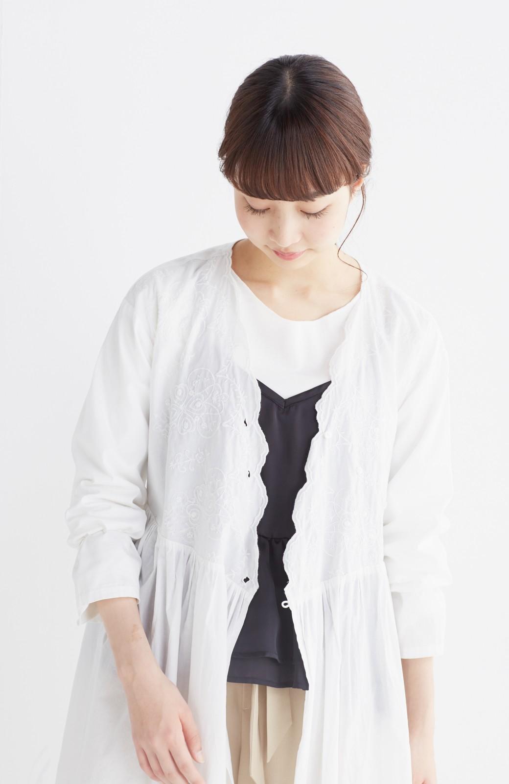エムトロワ 羽織りにもなるスカラップレースカシュクールワンピース <ホワイト>の商品写真17