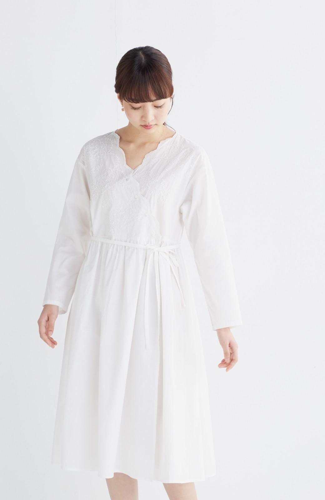 エムトロワ 羽織りにもなるスカラップレースカシュクールワンピース <ホワイト>の商品写真11