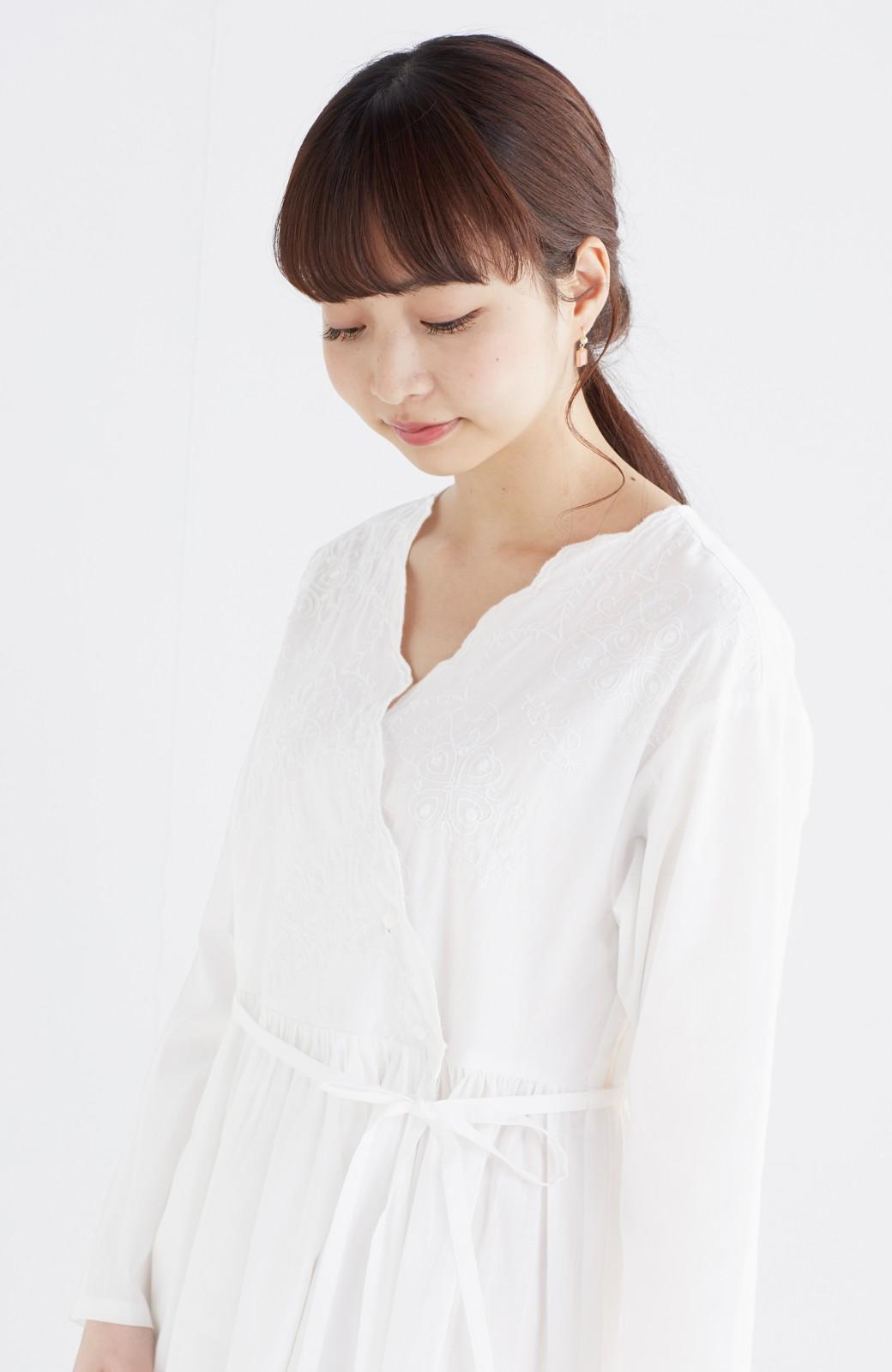 エムトロワ 羽織りにもなるスカラップレースカシュクールワンピース <ホワイト>の商品写真15