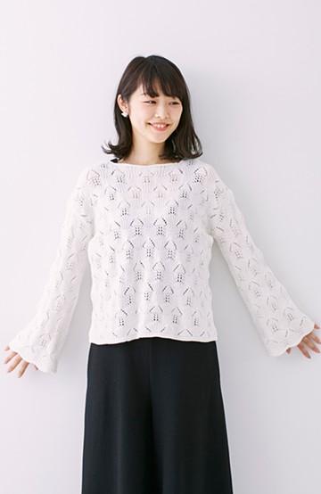 nusy 袖スカラップがかわいい柄編みゆるニット <ホワイト>の商品写真