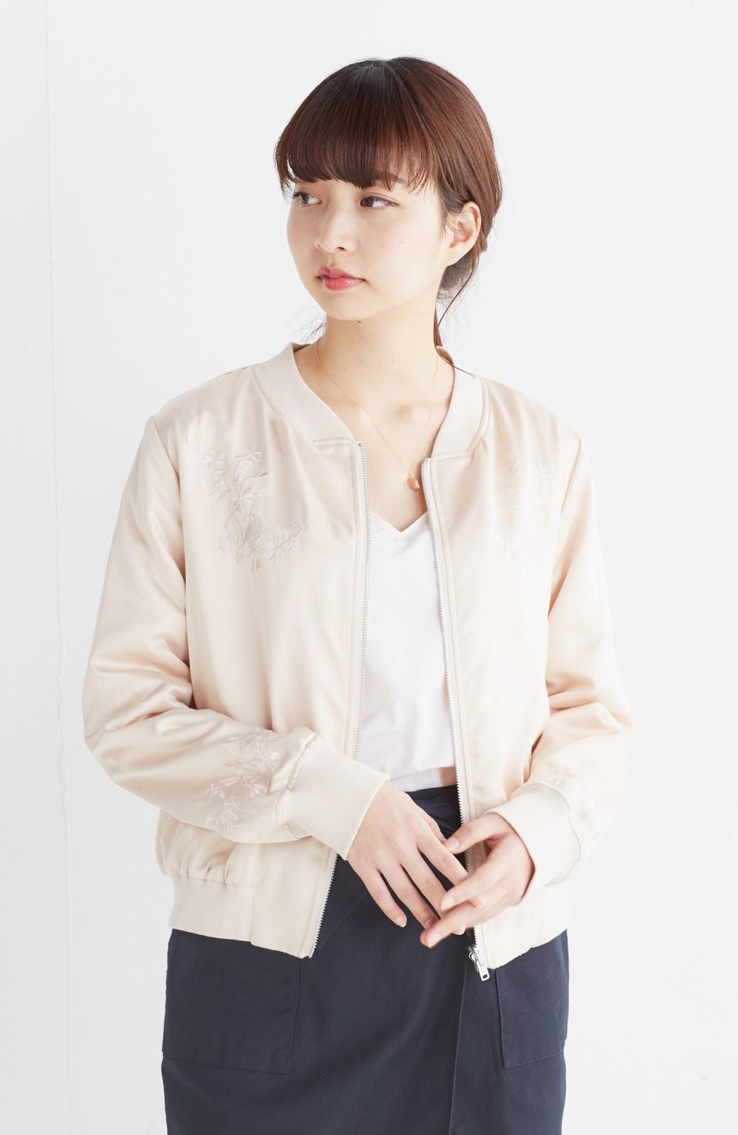 nusy 【mer6月号掲載】リバーシブルで着やすい 梅にうぐいす刺しゅうの華やかブルゾン <ピンクベージュ>の商品写真7