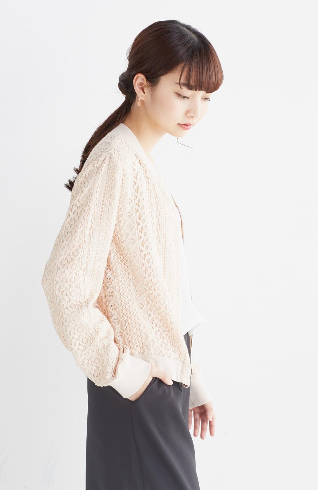 nusy 【mer6月号掲載】リバーシブルで着やすい 梅にうぐいす刺しゅうの華やかブルゾン <ピンクベージュ>の商品写真21