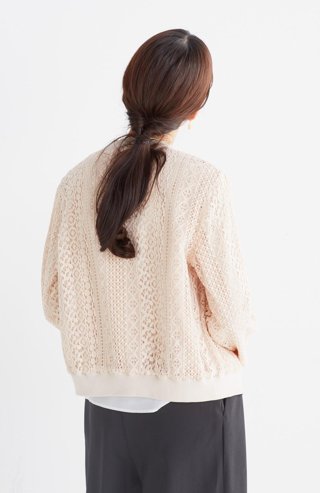 nusy 【mer6月号掲載】リバーシブルで着やすい 梅にうぐいす刺しゅうの華やかブルゾン <ピンクベージュ>の商品写真22