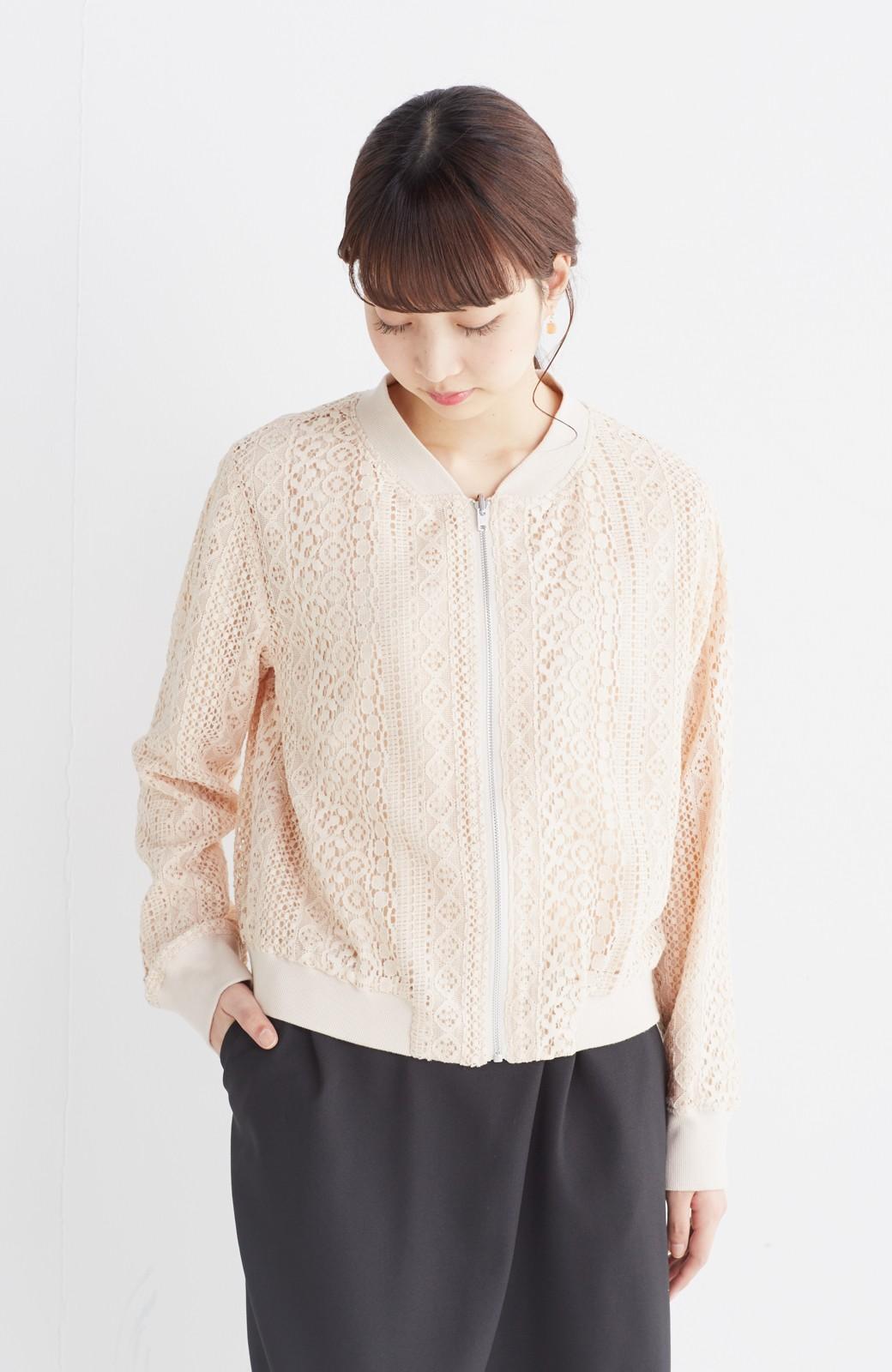 nusy 【mer6月号掲載】リバーシブルで着やすい 梅にうぐいす刺しゅうの華やかブルゾン <ピンクベージュ>の商品写真25