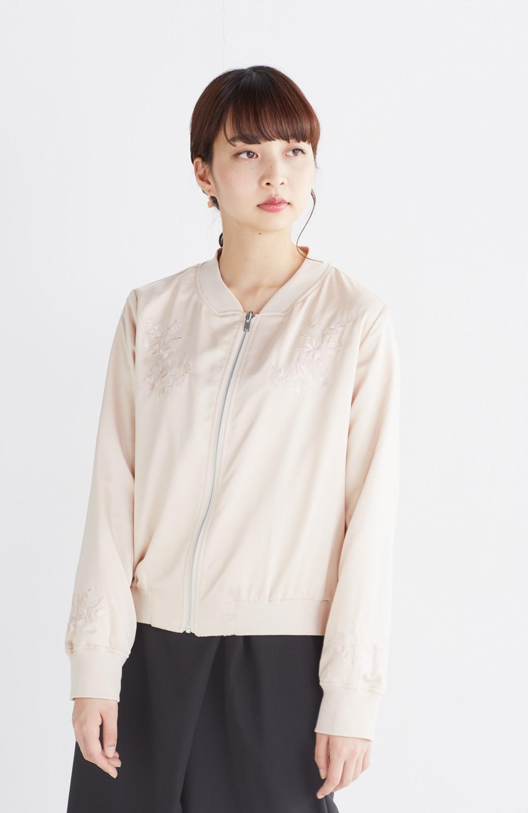 nusy 【mer6月号掲載】リバーシブルで着やすい 梅にうぐいす刺しゅうの華やかブルゾン <ピンクベージュ>の商品写真26