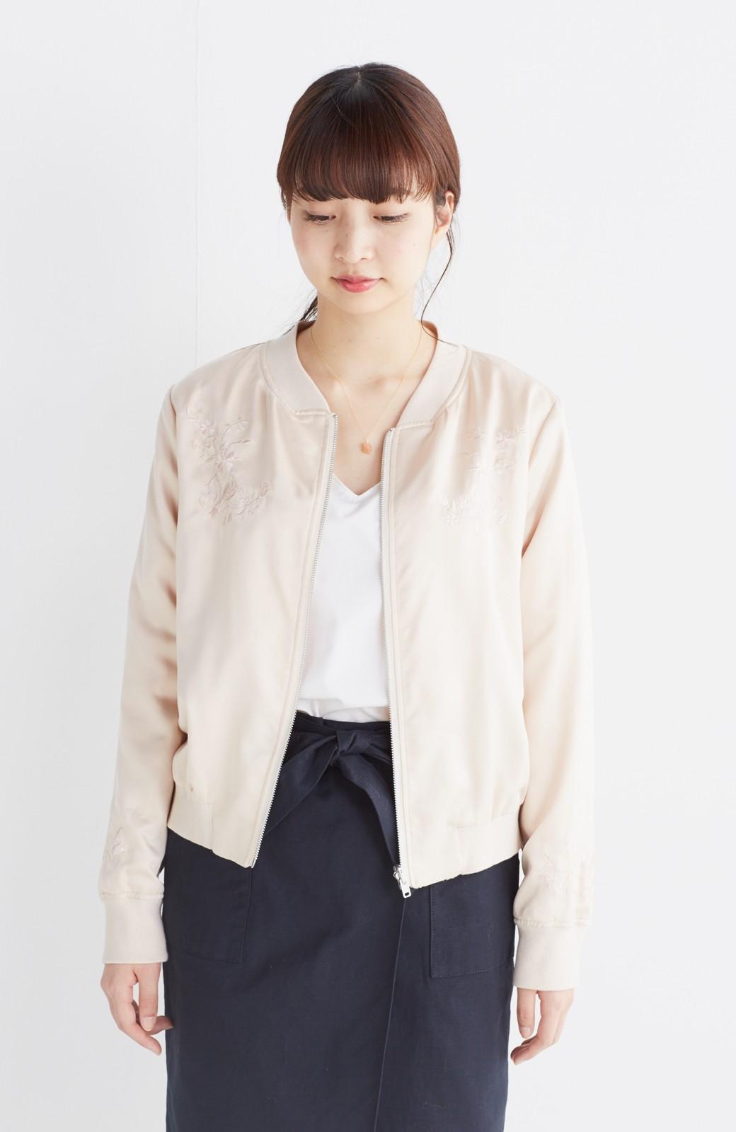 nusy 【mer6月号掲載】リバーシブルで着やすい 梅にうぐいす刺しゅうの華やかブルゾン <ピンクベージュ>の商品写真14