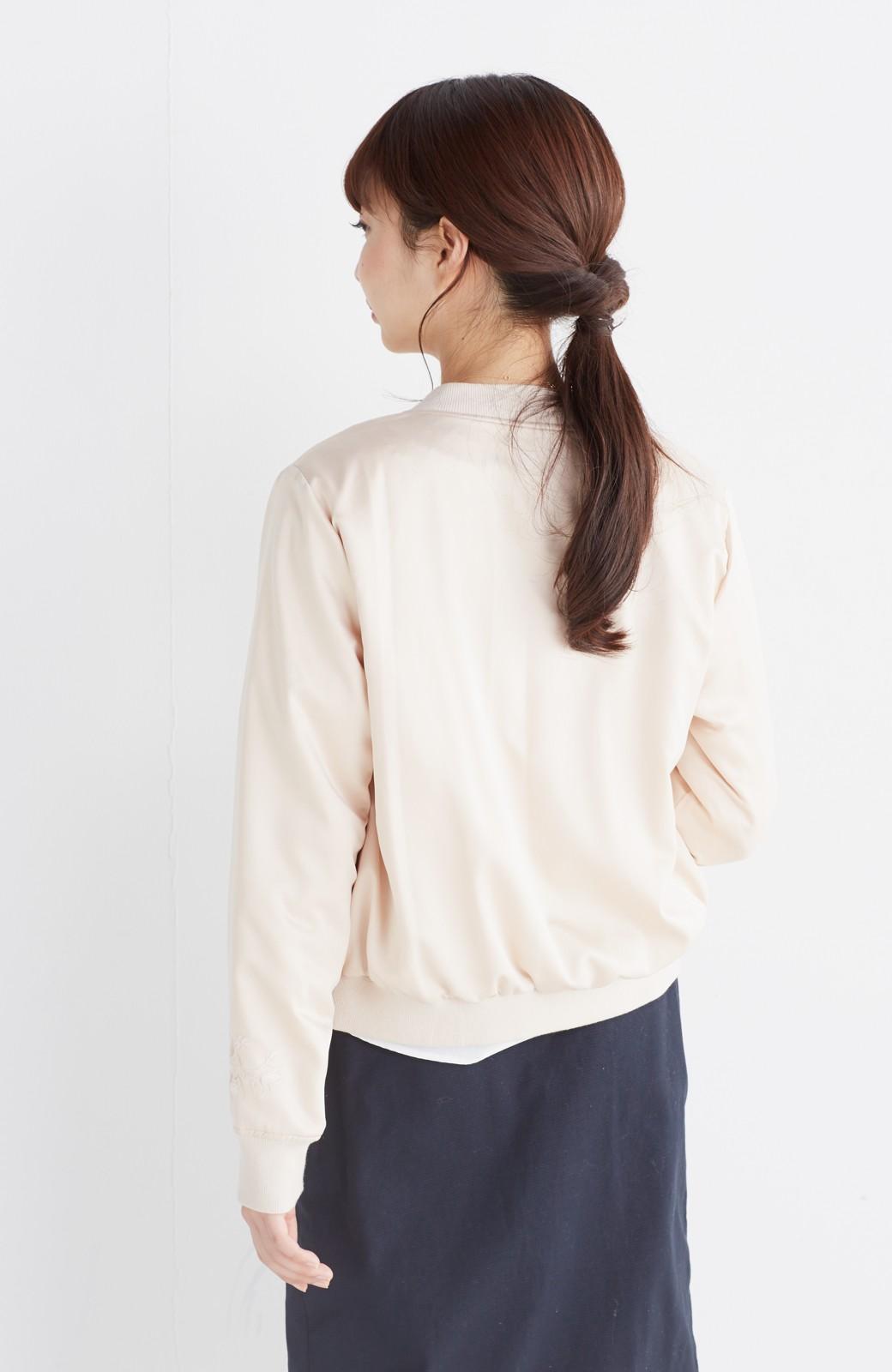 nusy 【mer6月号掲載】リバーシブルで着やすい 梅にうぐいす刺しゅうの華やかブルゾン <ピンクベージュ>の商品写真16
