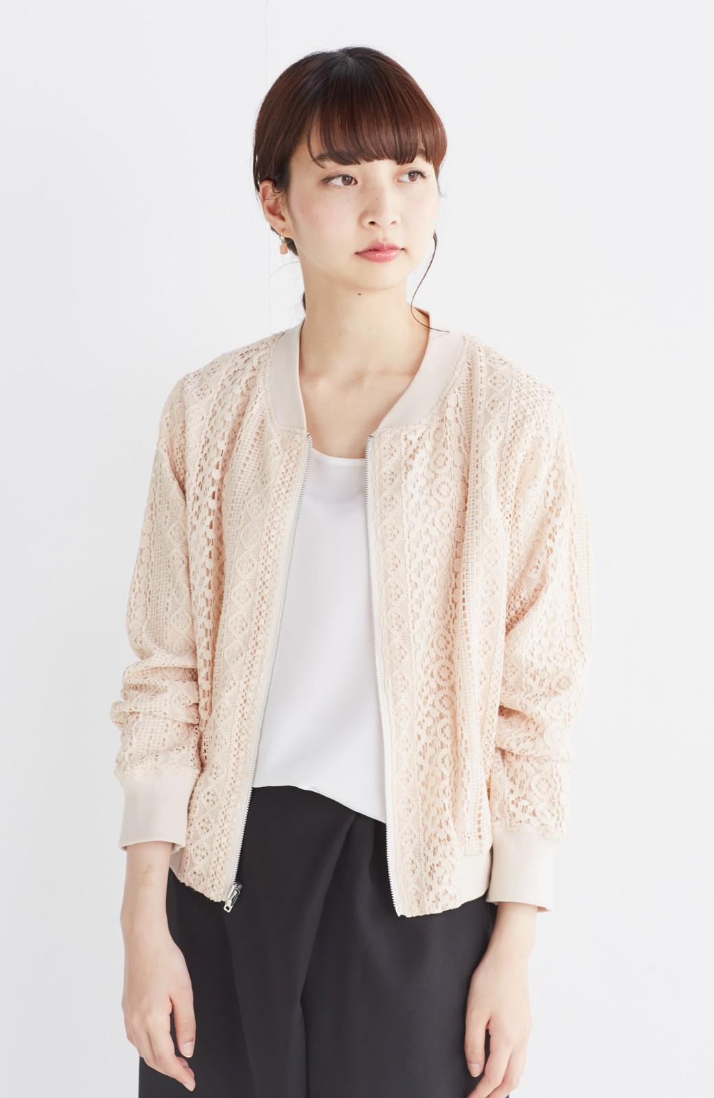 nusy 【mer6月号掲載】リバーシブルで着やすい 梅にうぐいす刺しゅうの華やかブルゾン <ピンクベージュ>の商品写真17