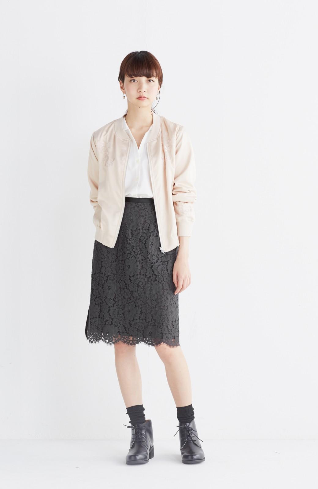 nusy 【mer6月号掲載】リバーシブルで着やすい 梅にうぐいす刺しゅうの華やかブルゾン <ピンクベージュ>の商品写真12