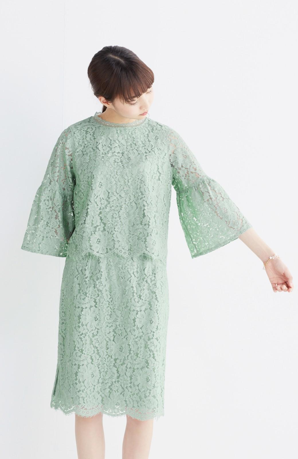 エムトロワ パッと着て華やぐ フレアースリーブのレースブラウス <グリーン>の商品写真16