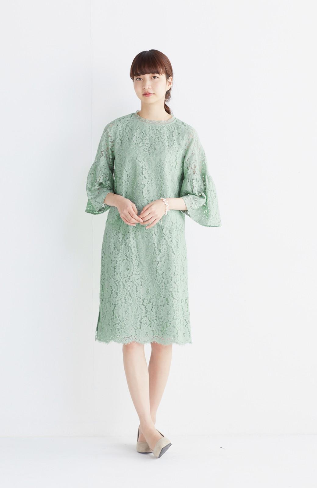 エムトロワ パッと着て華やぐ フレアースリーブのレースブラウス <グリーン>の商品写真4