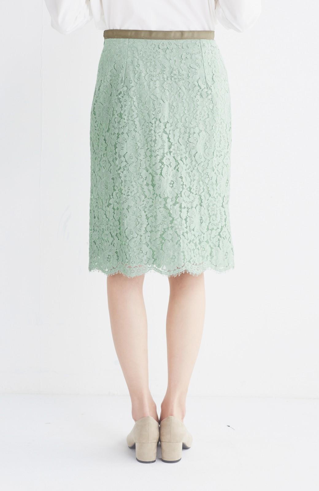 エムトロワ パッと着て華やぐ レースタイトスカート <グリーン>の商品写真5