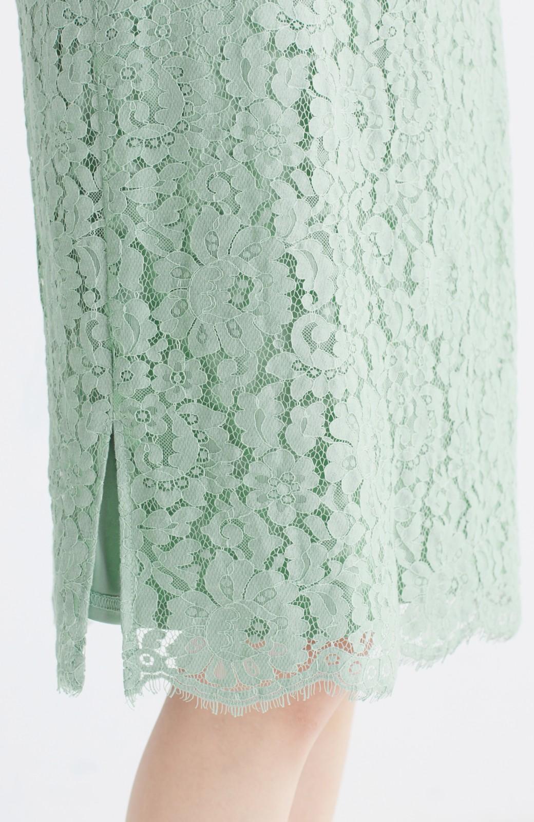 エムトロワ パッと着て華やぐ レースタイトスカート <グリーン>の商品写真6