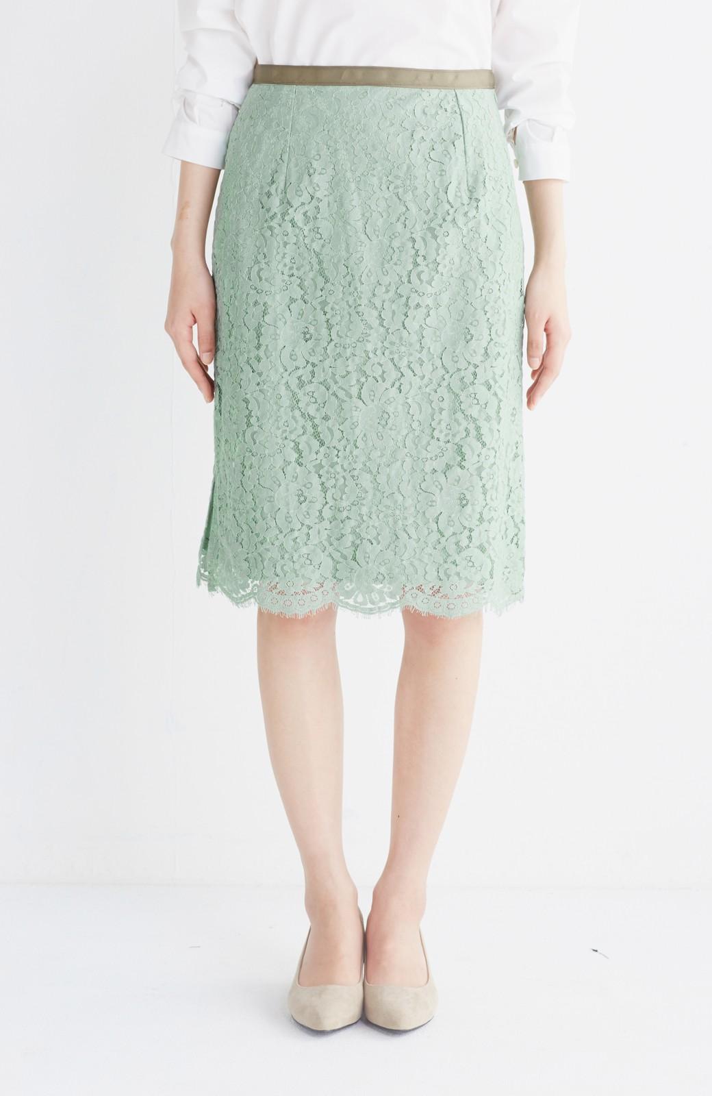 エムトロワ パッと着て華やぐ レースタイトスカート <グリーン>の商品写真3