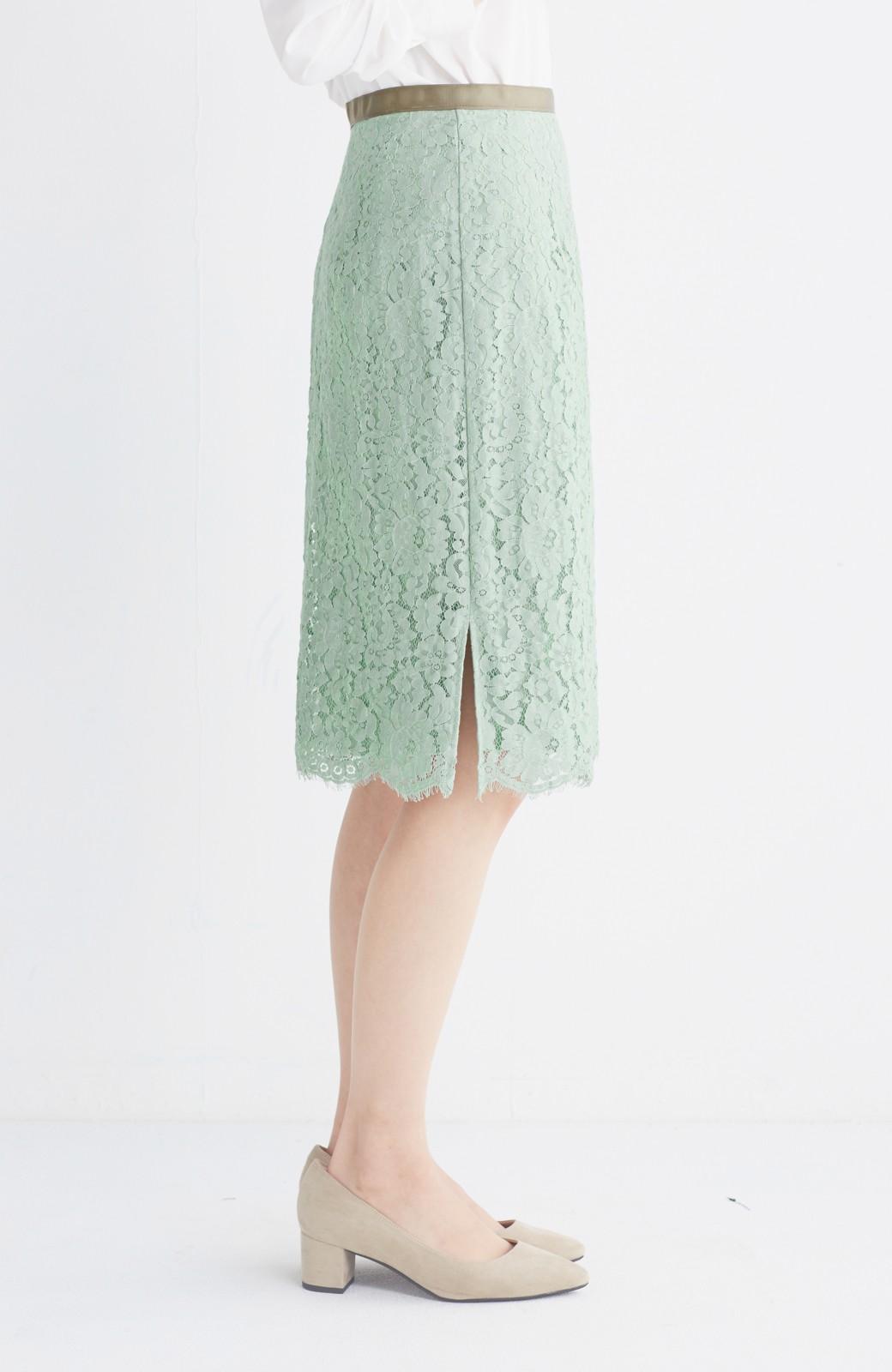 エムトロワ パッと着て華やぐ レースタイトスカート <グリーン>の商品写真4