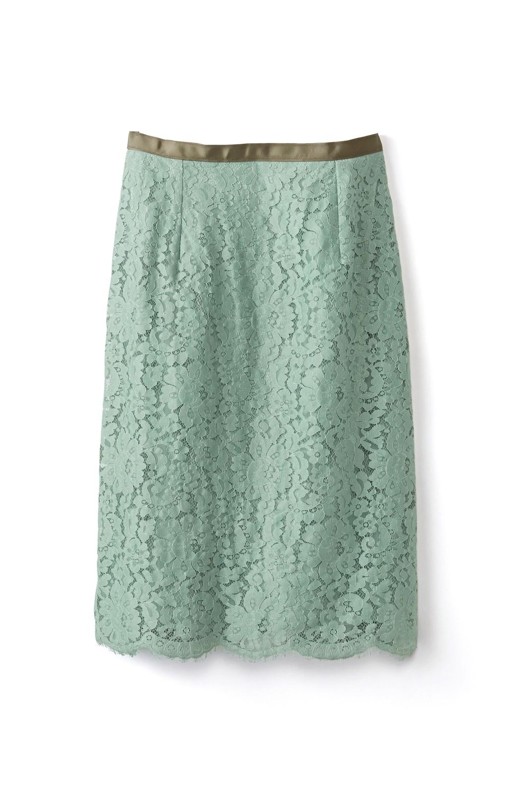 エムトロワ パッと着て華やぐ レースタイトスカート <グリーン>の商品写真1