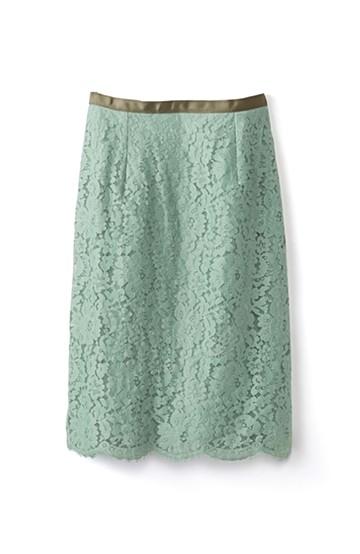 エムトロワ パッと着て華やぐ レースタイトスカート <グリーン>の商品写真