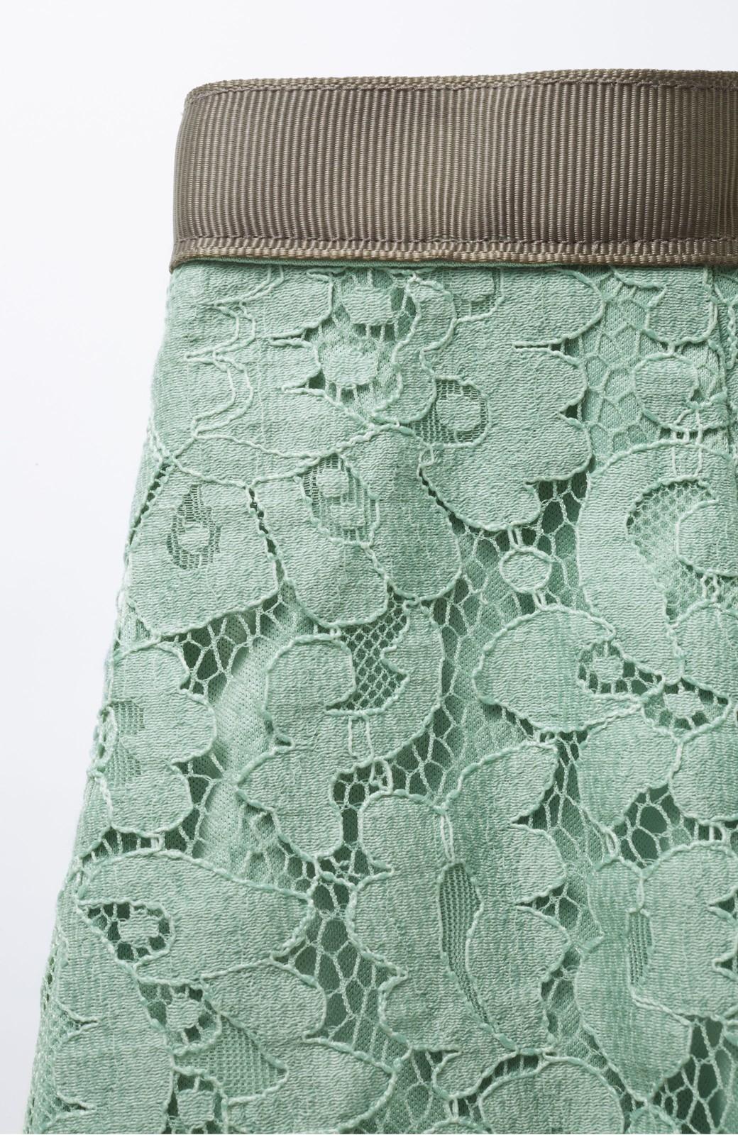 エムトロワ パッと着て華やぐ レースタイトスカート <グリーン>の商品写真2