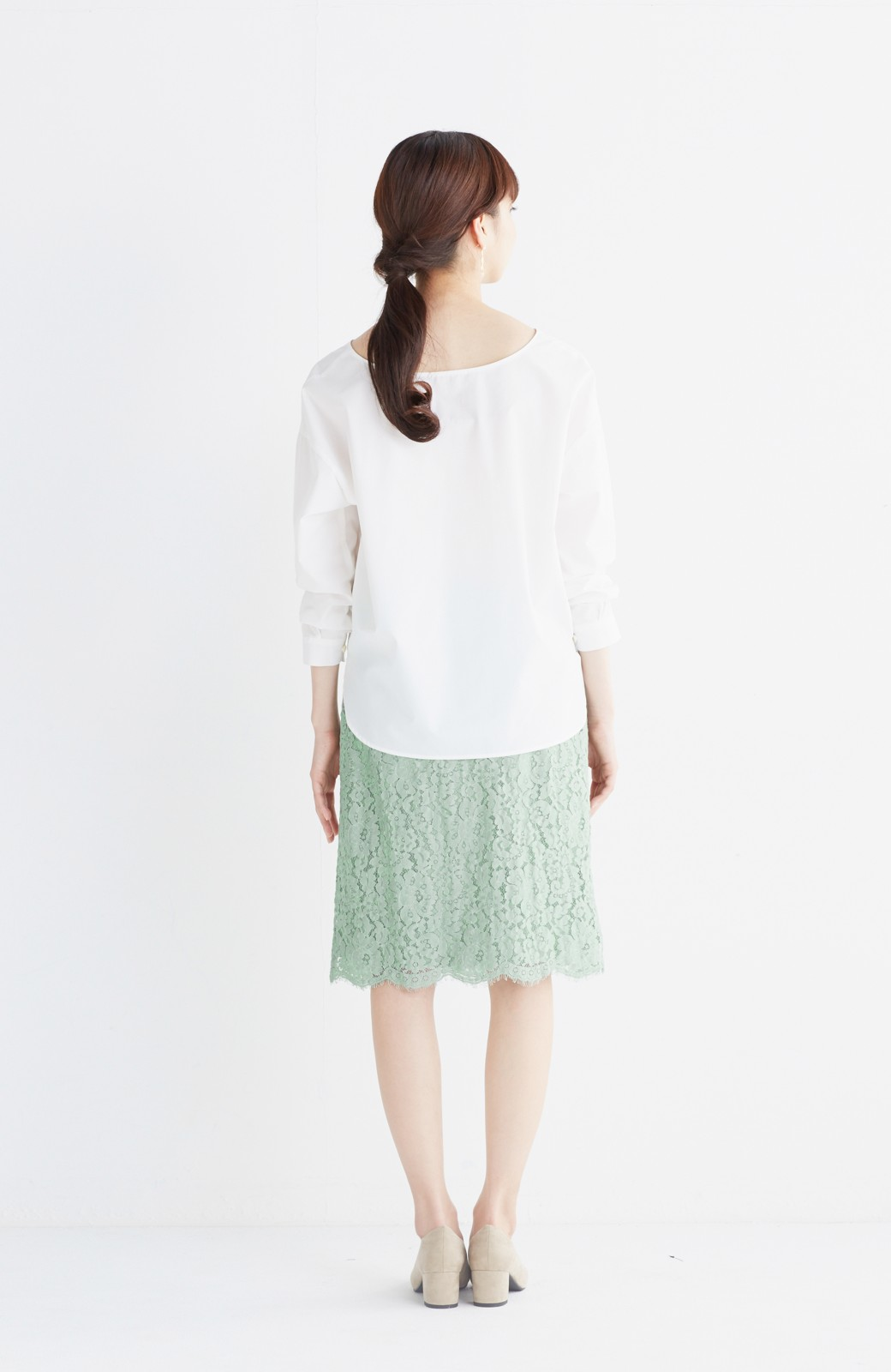 エムトロワ パッと着て華やぐ レースタイトスカート <グリーン>の商品写真12