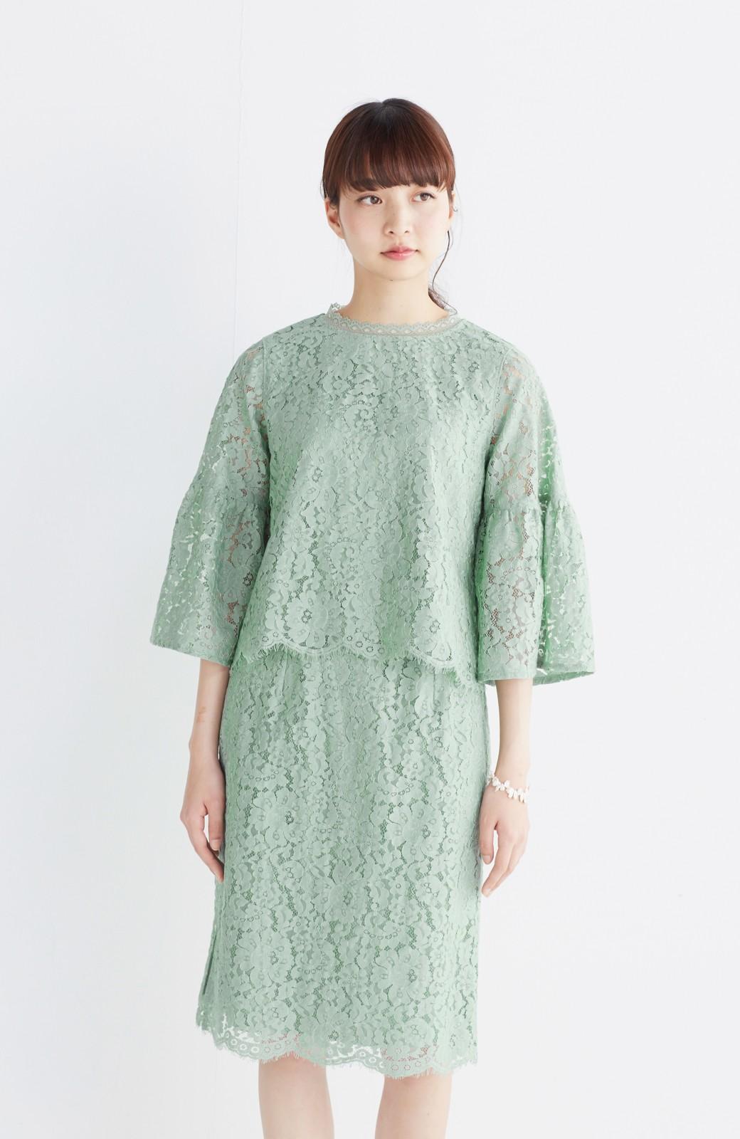 エムトロワ パッと着て華やぐ レースタイトスカート <グリーン>の商品写真14