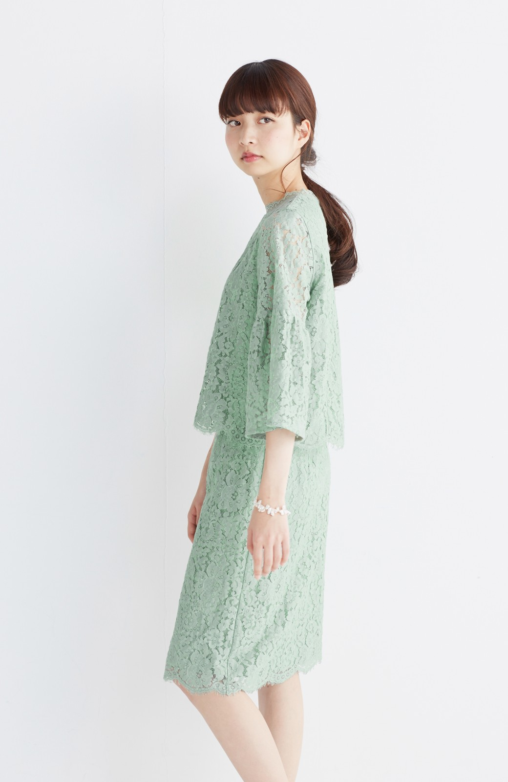 エムトロワ パッと着て華やぐ レースタイトスカート <グリーン>の商品写真15