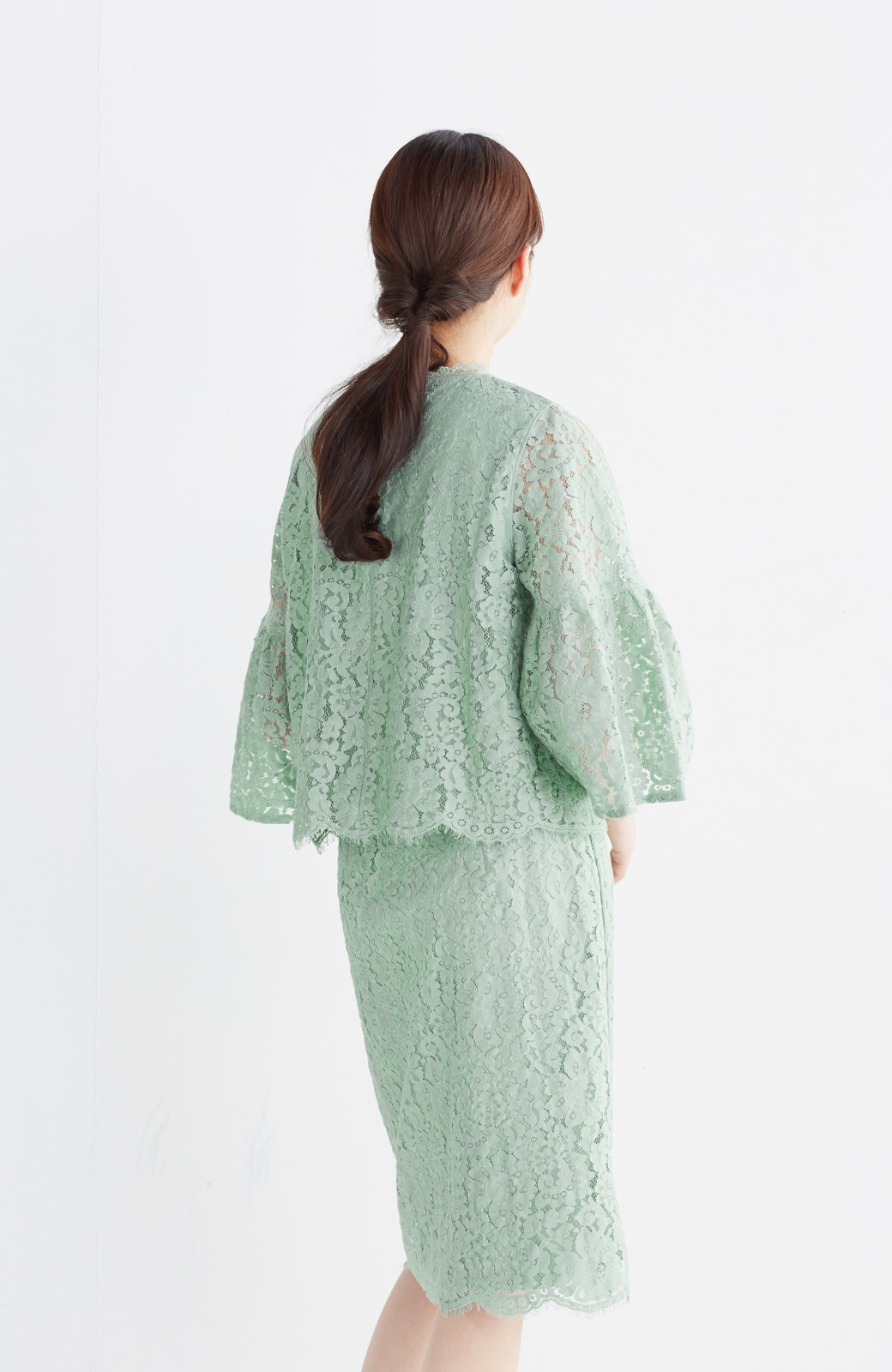 エムトロワ パッと着て華やぐ レースタイトスカート <グリーン>の商品写真16