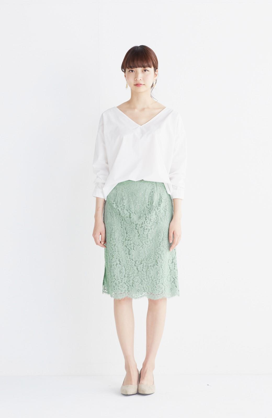 エムトロワ パッと着て華やぐ レースタイトスカート <グリーン>の商品写真7