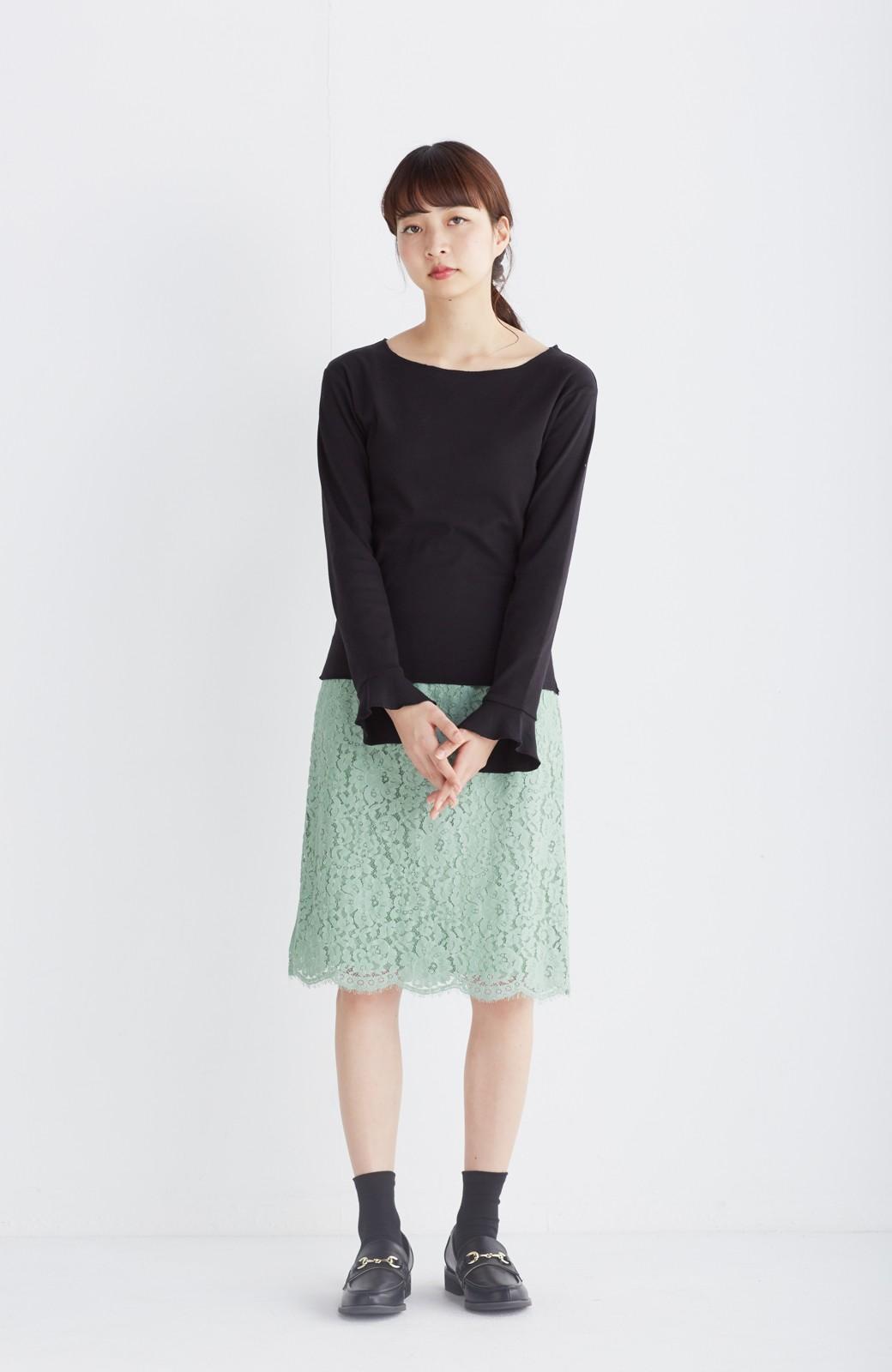 エムトロワ パッと着て華やぐ レースタイトスカート <グリーン>の商品写真8