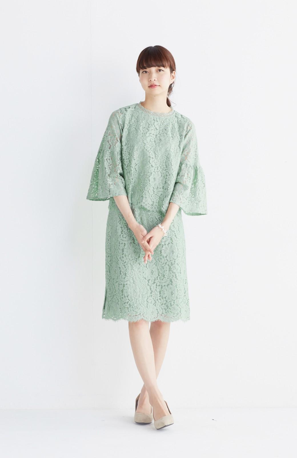 エムトロワ パッと着て華やぐ レースタイトスカート <グリーン>の商品写真9
