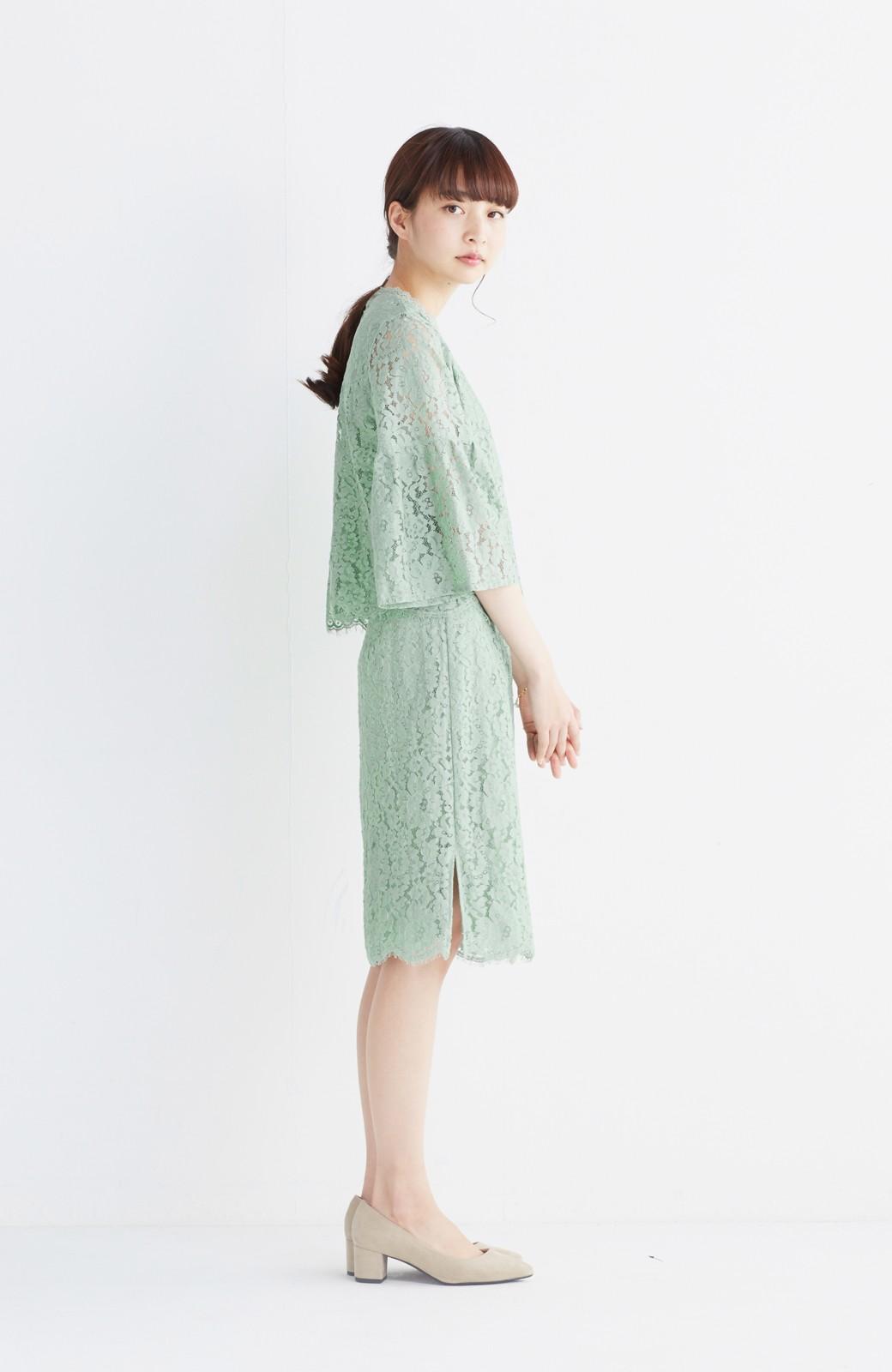 エムトロワ パッと着て華やぐ レースタイトスカート <グリーン>の商品写真10