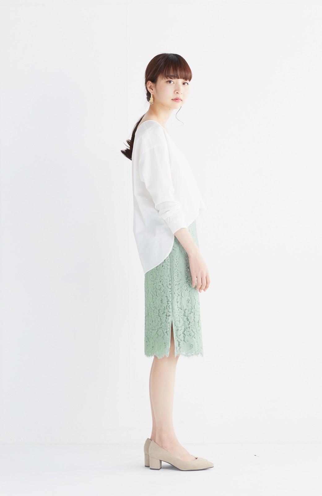 エムトロワ パッと着て華やぐ レースタイトスカート <グリーン>の商品写真11