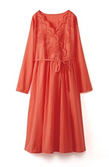 エムトロワ 羽織りにもなるスカラップレースカシュクールワンピース <オレンジ系その他>の商品写真