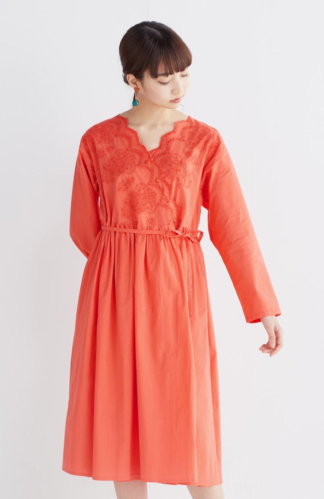 エムトロワ 羽織りにもなるスカラップレースカシュクールワンピース <オレンジ系その他>の商品写真10