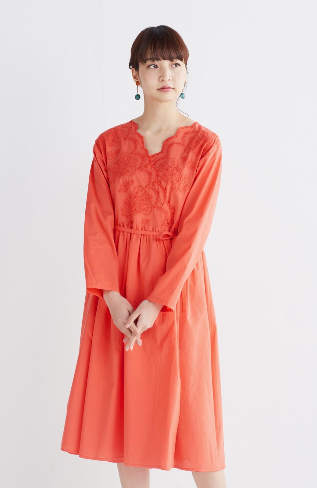 エムトロワ 羽織りにもなるスカラップレースカシュクールワンピース <オレンジ系その他>の商品写真11